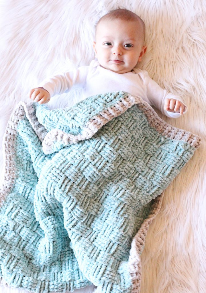 This blanket works up so quickly thanks to the thick yet soft nature of Yarnspirations Baby Velvet Yarn.