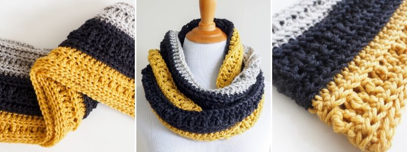 Chunky Crochet Infinity Scarf - This is an easy crochet pattern which is great if you're just learning how to crochet. The pattern uses basic crochet stitches.