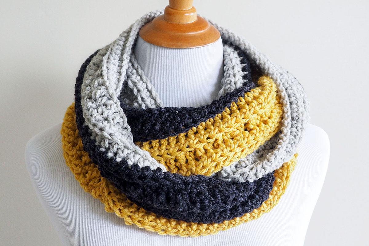 Tri Toned Chunky Crochet Infinity Scarf Pattern Double Crochet