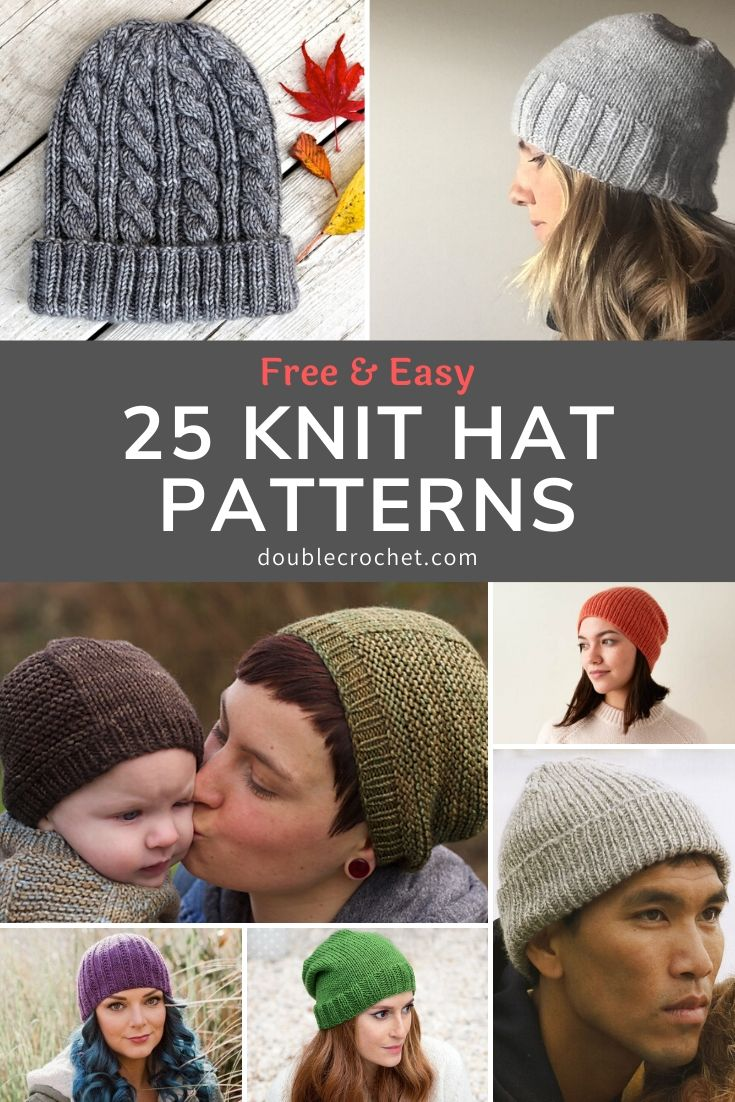 In this list of knitted hat patterns, you'll find easy knitting patterns, simple cable knit hats, classic ribbed stitch hats, easy knit baby hats and more.