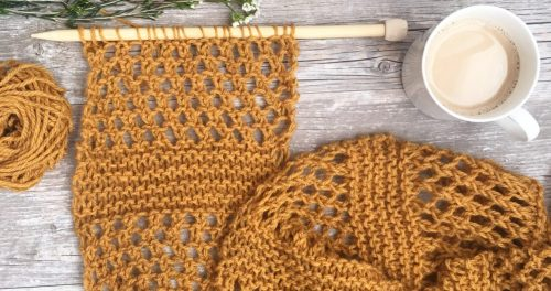 Here's an easy scarf knitting pattern that's perfect to wear in warmer Spring or Fall weather.