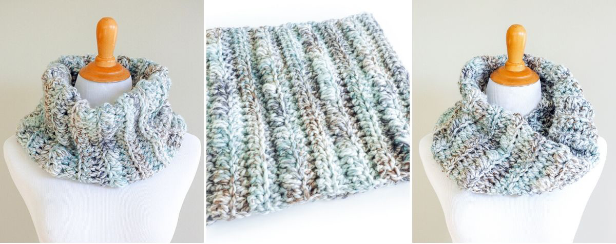 The Sea Glass Chunky Crochet Cowl is easy to work up - you can complete it in a few hours. If you're learning how to crochet it's a great beginner project.