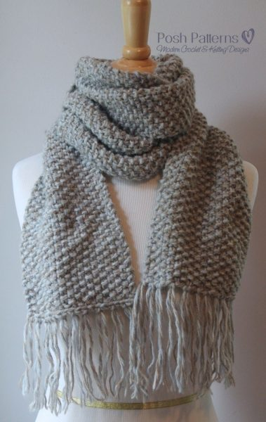 This gorgeous seed stitch scarf knitting pattern is perfect for beginners and features a beautifully textured seed stitch design. Perfect for men, women, and kids!