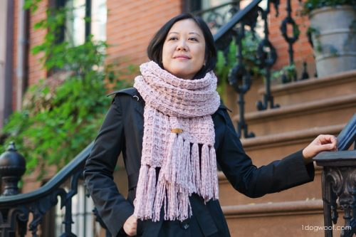The waffle knit scarf pattern is very simple, making this a great project to work on in front of the TV.
