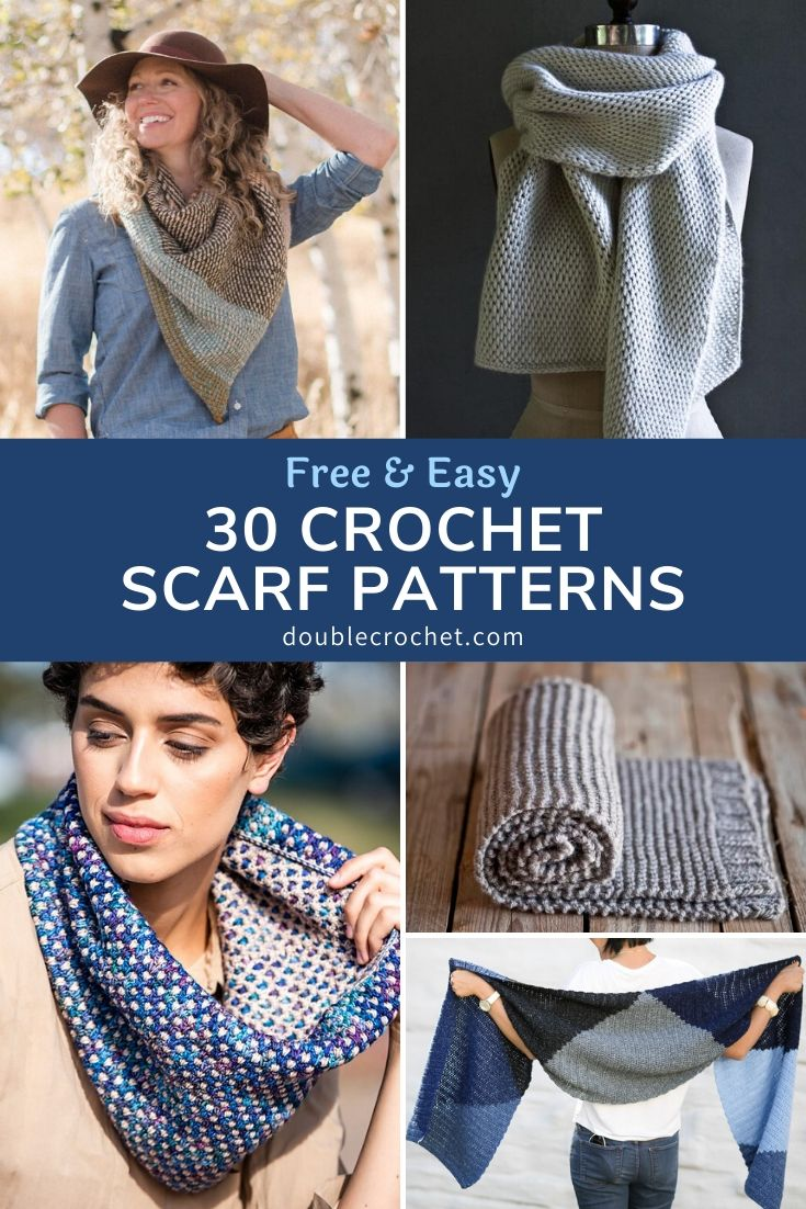 Here's a huge list of free crochet scarf patterns - easy patterns but also more advanced pattern designs for crocheters looking for more of a challenge.
